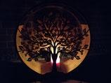 Laterne/Windlicht Edelrost Lebensbaum