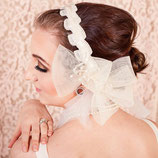Ivory Pearl and Aurora Borealis Beaded Bridal Headpiece Headband