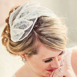 Lace and Tulle Leaf Bridal Headpiece