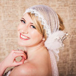 Polka Dot Tulle Lace Head Wrap Veil with Flower Hair Clip