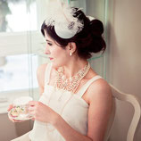 White and Silver Feather Rhinestone Vintage Inspired Fascinator and Silver Birdcage Bandeau Veil