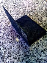 Porte carte en cuir d'autruche noir