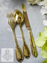 412. フランス製/純銀ヴェルメイユ・リボンとモノグラムのディナーカトラリーセット(仏1885年頃)