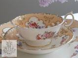187-1 ミントン/柑子色と金彩のフローラルティーカップ「3507」(英1840年頃)