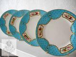 218. 19世紀ターコイズブルーハンドペイント18cm皿5枚セット