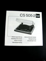 DUAL CS 505-2 Plattenspieler Bedienungsanleitung Operators Manual