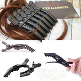 FRISEUR ABTEILKLAMMERN MIT GELENK.6 Stück. Die Crocodile Clips Haarklemmen sind aus stabilem Kunststoff (Schwarz Uni)