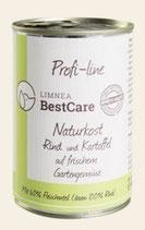 Limnea BestCare Naturkost Rind und Kartoffel auf frischem Gartengemüse