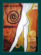 Akt Weiß - Acryl auf Zirbenholz 45 x 32 cm ca.