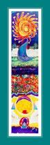 Love - Seidenmalerei - 37 x 139,5 cm, gerahmt