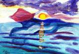 Sonnenuntergang - Öl auf Leinwand - auf Anfrage (kleines Bild)