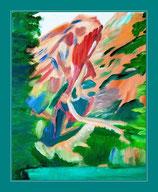 Bergsee und Berge - Acryl auf Leinwand - sold