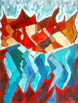 Me, fire and water - Öl auf Ökopapier 83 x 106cm, gerahmt