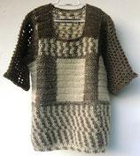 Langer gehäkelter Pullover/Kurzes Strickkleid, mit Mütze