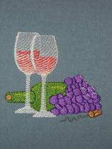Stickdatei Weinflasche mit Gläser