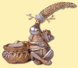 Weihnachten Teelichthalter Rentier gold mit Sack sitzend
