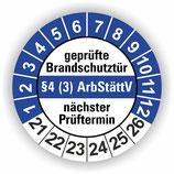 geprüfte Brandschutztür §4 (3) ArbStättV BLAU Ø 20mm Wartungsetiketten
