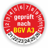 BGV A3 ROT Ø 20mm Wartungsetiketten