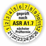 ASR A1.7 GELB Ø 20mm Wartungsetiketten