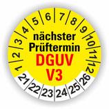 DGUV V3 GELB Ø 40mm Wartungsetiketten