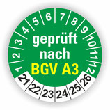 BGV A3 GRÜN Ø 40mm Wartungsetiketten