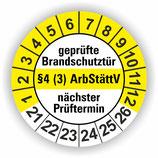 geprüfte Brandschutztür §4 (3) ArbStättV GELB Ø 20mm Wartungsetiketten