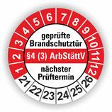 geprüfte Brandschutztür §4 (3) ArbStättV ROT Ø 20mm Wartungsetiketten