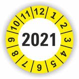 Prüfplakette Ø 20mm 2021 Gelb