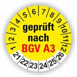 BGV A3 GELB Ø 30mm Wartungsetiketten