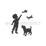 """Stanzschablone """"Kind mit Hund und Fliegern"""" - Alexandra Renke"""