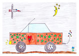 Auto mit grünen Sternen und Herz auf der Fahrertür