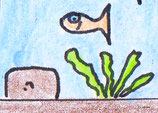 Schatzfisch mit Schatz und Meerespflanze