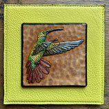 Mini Lederbild Kolibri bunt