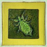 "Mini Lederbild ""wandelndes Blatt"", 10 x10 cm"