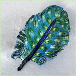 Haarspange Lederfeder mini, Blau und Grün