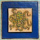 """Mini  Lederbild """"Blauringkrake"""", 8 x 8 cm"""
