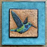 Mini Lederbild Kolibri blau