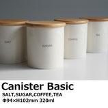 【日本製】LOLO B STYLE KITCHEN 陶器製ベーシックキャニスター木蓋付 Φ94×H102mm(320ml)