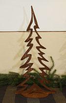 Tannenbaum, aus gerostetem Metall, geschlossen