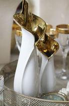 Keramikvase, weiß und gold, 2er Set
