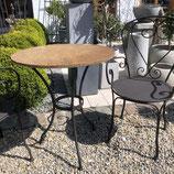 Tisch schwarz mit Steinplatte, Metall