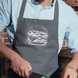 """Küchenschürze grau """"Burger"""", silber"""