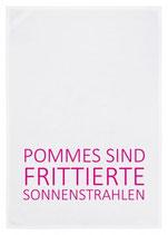 """Geschirrtuch weiß """"POMMES SIND FRITTIERTE SONNENSTRAHLEN"""", pink"""