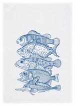 """Geschirrtuch weiß """"Fünf Fische"""", blau"""