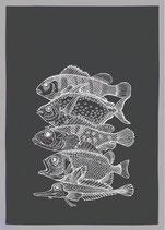 """Geschirrtuch grau """"Fünf Fische"""", weiß"""