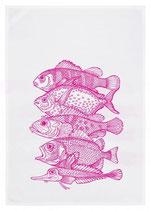"""Geschirrtuch weiß """"Fünf Fische"""", neon pink"""