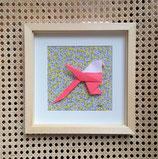 Origami mésange corail fond liberty - plusieurs formats disponibles