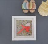 Origami Mésange Corail fond Liberty Jaune - Plusieurs formats disponibles