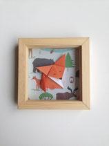 Origami renard fond forêt - format 11x11 cm