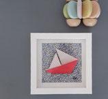 Origami Bateau Rose fond Liberty Eloise bleu - Plusieurs formats disponibles